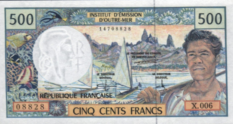 (425) French Pacific Territories P1b - 500 francs Year 1992