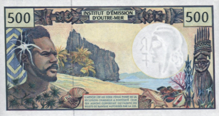 P1b French Pacific Territories 500 francs Year 1992