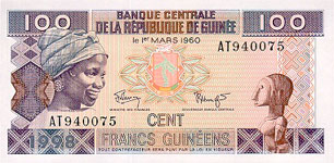 P35a Guinea 100 Francs Year 1998