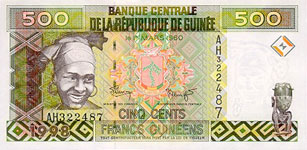 P36 Guinea 500 Francs Year 1998