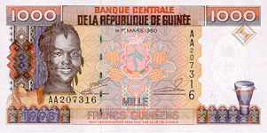 P37 Guinea 1000 Francs Year 1998