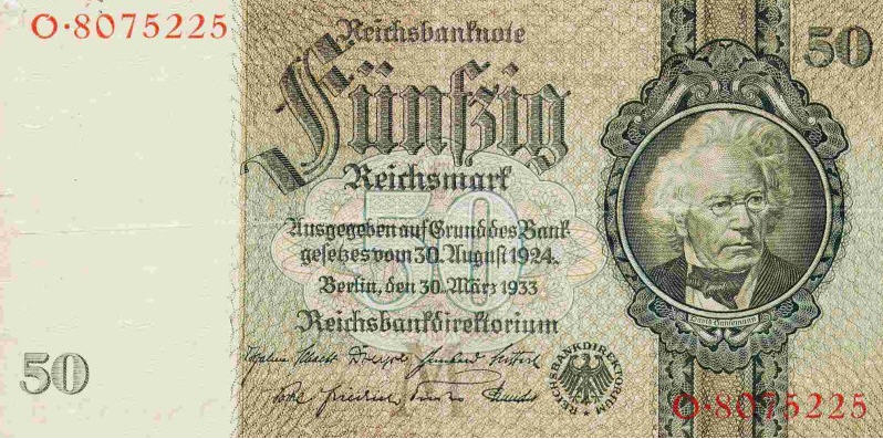P182b Germany 50 Reichsmark Year 1933