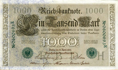 P 45b Germany 1000 Mark Year 1910