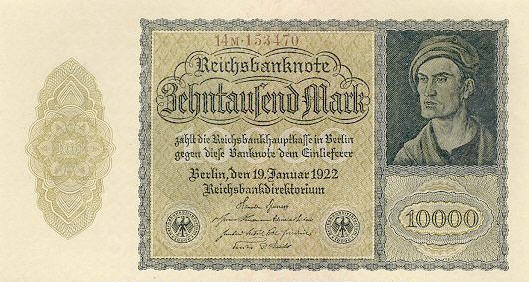 P 71 Germany 10000 Mark Year 1922