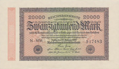 P 85a Germany 20000 Mark Year 1923