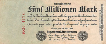 P 95 Germany 5 Million Mark Year 1923