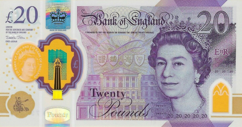 (171) ** PNew Great Britain 20 Pounds Year 2020