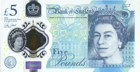 P394 Great Britain 5 Pounds (Polymer) Year 2015