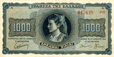 P118 Greece 1000 Drachmai 1942