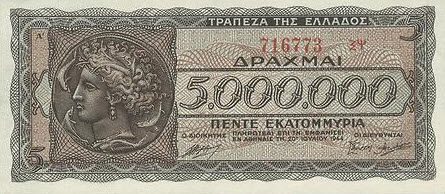 P128a Greece 5.000.000 Drachmai 1944