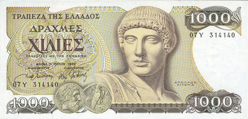 P202 Greece 1000 Drachmai Year 1987