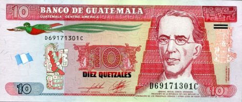 P123b Guatemala 10 Quetzales Year 2011 (2014) (Polymer)