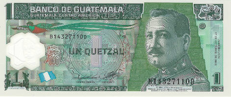 P115 Guatemala 1 Quetzal Year 2012 (Wide Serial)