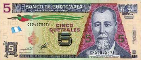 P122Ab Guatemala 5 Quetzales Year 2014 (2019)