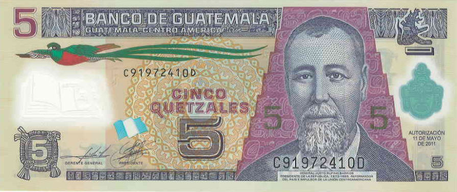 P121 Guatemala 5 Quetzales Year 2010 (Polymer)
