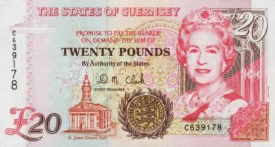 P58b Guernsey 20 Pounds Year 1996