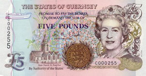 P56bc Guernsey 5 Pound Year nd