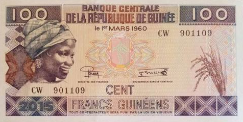 P47A Guinea 100 Francs Year 2015