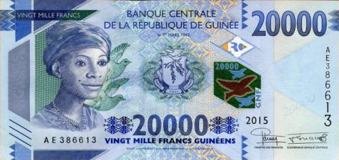 P50 Guinea 20.000 Francs Year 2015