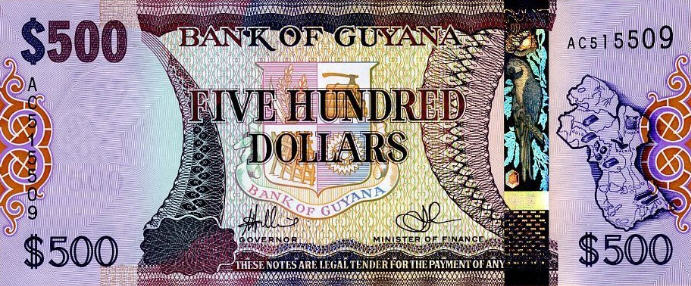 P37 Guyana 500 Dollars Year ND (2011)