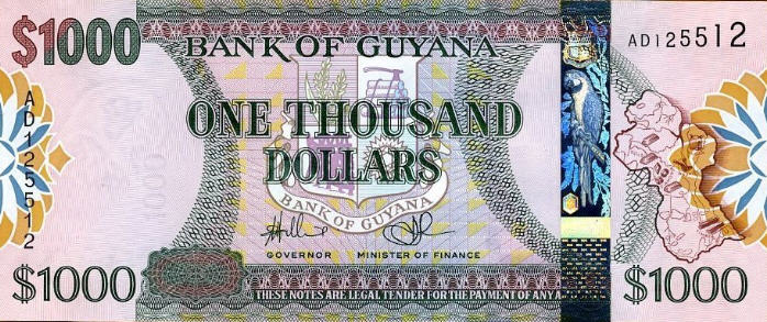 P38a Guyana 1000 Dollars nd2006