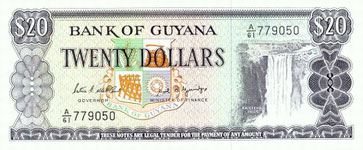 P24d Guyana 20 Dollar Year nd