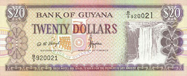 P30f Guyana 20 Dollar Year nd