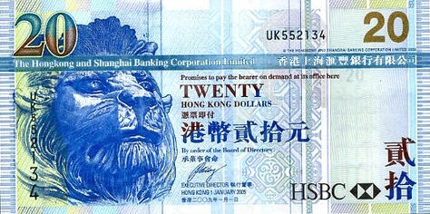 P207f Hong Kong 20 Dollars Year 2009
