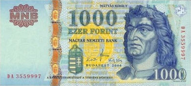 P195d Hungary 1000 Forint Year 2008