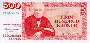 P58b Iceland 500 Kronur Year nd