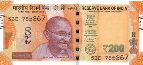 (196) ** PNew India 200 Rupees Year 2019