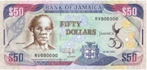 P89 Jamaica 50 Dollars (Commemorative 50 Year)