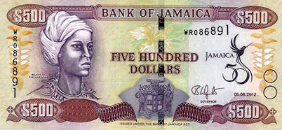 P91 Jamaica 500 Dollars (Commemorative 50 Year)