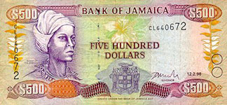 P77 Jamaica 500 Dollars Year 1996