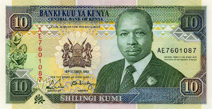 P24a Kenya 10 Shillings Year 1989