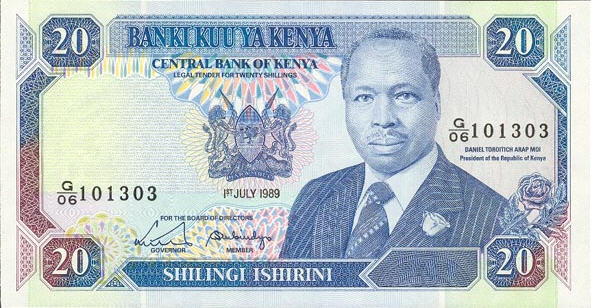 P25a/b Kenya 20 Shillings Year 1989/1991