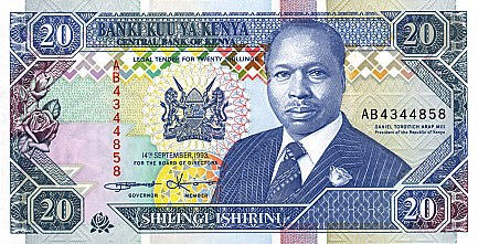 P31a Kenya 20 Shillings Year 1993