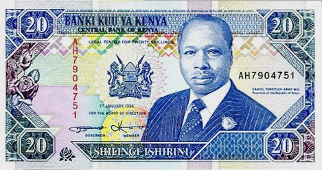 P31b Kenya 20 Shillings Year 1994