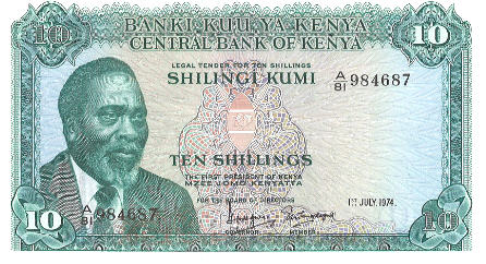 P 7e Kenya 10 Shillings Year 1974