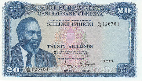 P 8d Kenya 20 Shillings Year 1973