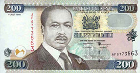 P38 Kenya 200 Shillings Year 1996/1998/2000