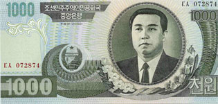 P45 Korea North 1000 Won Year 2002