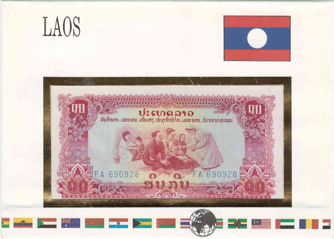 P20a Laos 10 Kip In Folder