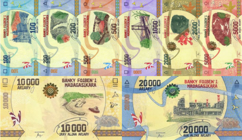 (480) ** PNew Madagascar Serie 100-20000 Ariary 2017 (8 Notes)
