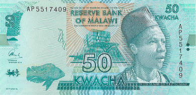 P64b Malawi 50 Kwacha Year 2015 (New Sign. & Colour)