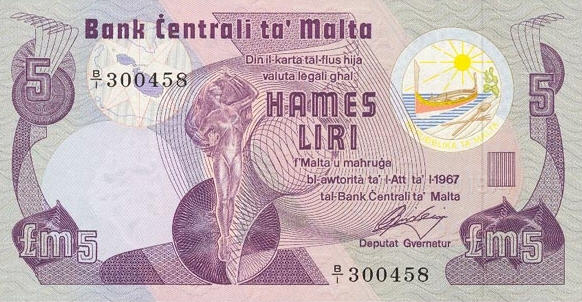 P 35a Malta 5 Pounds Year 1979 (XF)