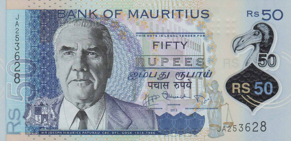 P65 Mauritius 50 Rupees Year 2013 (Polymer)