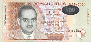 P53 Mauritius 500 Rupees Year 1999/2001