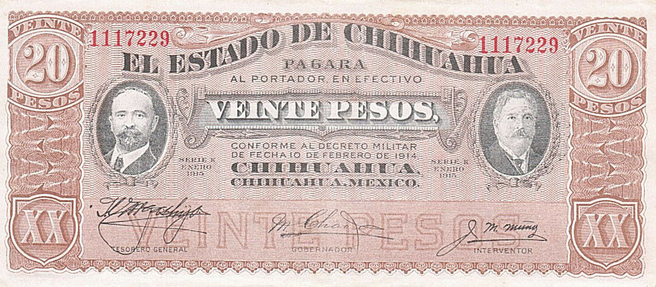 P S536 Mexico 20 Pesos Year 1914