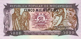 P133b Mozambique 5000 Meticaos Year 1989